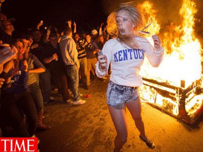 מהומות של סטודנטים שיכורים ממרץ האחרון (צילום מסך טיים)