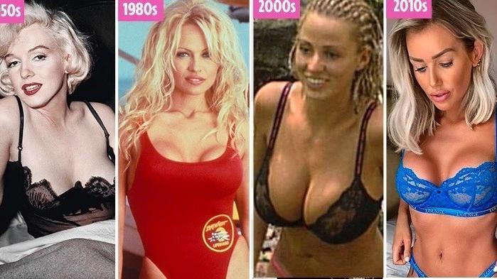 כך השתנו גדלי השדיים עם השנים. אילוסטרציה, צילום מסך
