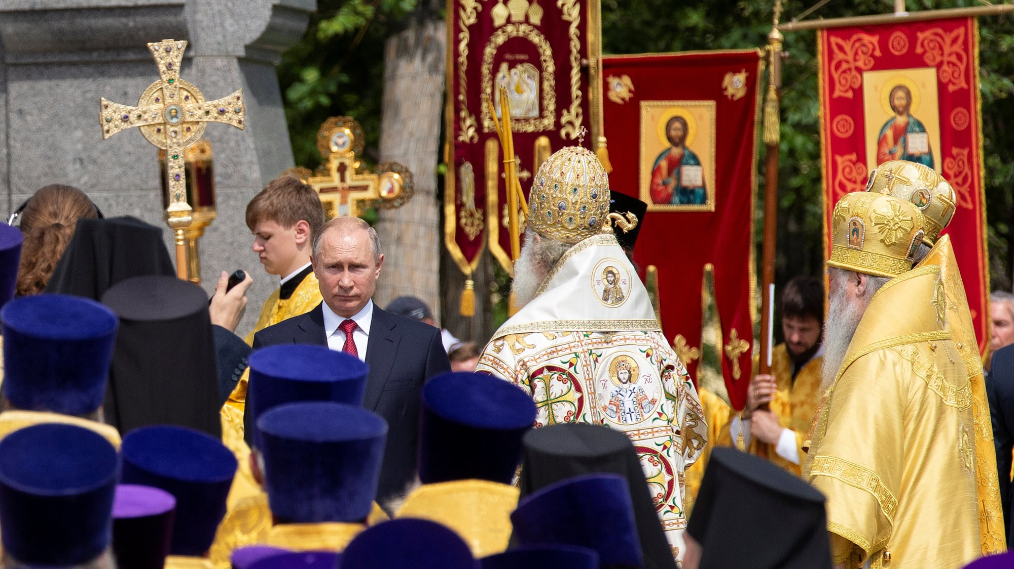 נשיא רוסיה פוטין בטקס במוסקבה לציון 1030 שנה לאימוץ הנצרות, 28 ביולי 2018. רויטרס