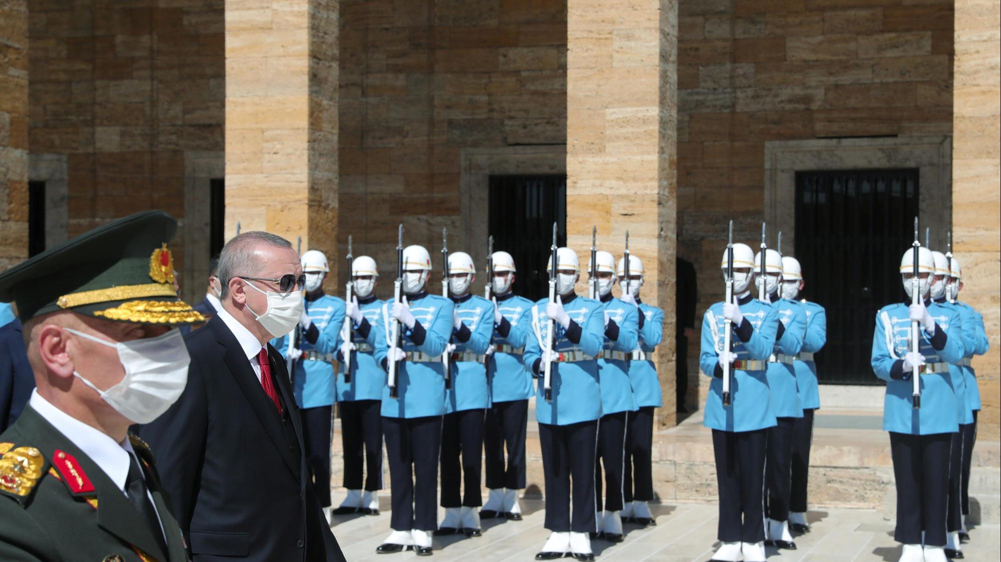נשיא טורקיה רג'פ טייפ ארדואן בטקס באיסטנבול לציון 98 שנה לניצחון על יוון, 30 באוגוסט 2020. רויטרס