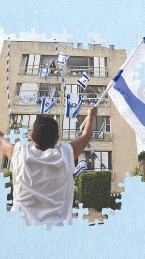 קישוט מרפסות בדגלי המדינה לרגל יום העצמאות בפתח תקווה 24 באפריל 2020. ראובן קסטרו