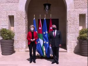 אחרי ניסיון ההפיכה: המלך עבדאללה תועד בפגישת עם נשיאת הנציבות האירופית  8.4.21. רויטרס