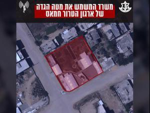 """מטוסי קרב של צה""""ל תקפו הלילה בשכונת רמאל שבמערב העיר עזה 18.05.21. דובר צה""""ל"""