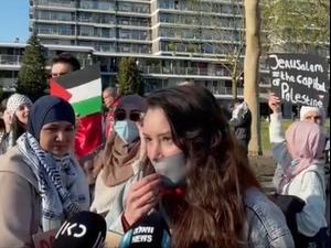 הפגנה פרו פלסטינית מחוץ לאירוויזיון. יניב דורנבוש, צילום מסך