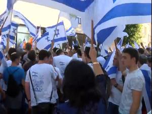 אבנים לעבר משרד המשפטים, שוטר הותקף בצלאח א-דין-מאות בצעדת הדגלים בירושלים 15.6.21. טל אנגלנדר, מערכת וואלה!