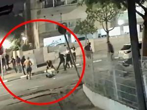 """תיעוד: לינץ' בגבר יהודי שהיה בדרך לביתו בעכו במהלך מבצע """"שומר החומות"""" 21.6.21. מצלמות אבטחה, צילום מסך"""