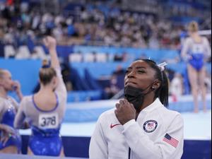 סימון ביילס מתעמלת אמריקאית. Gregory Bull, AP