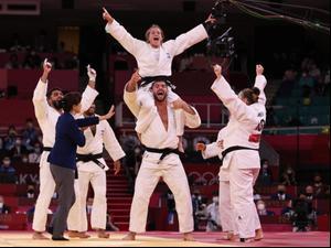 ג'ודאי נבחרת ישראל חוגגים זכייה במדליה. Harry How, GettyImages