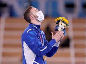 ארטיום דולגופיאט, מתעמל ישראלי, אחרי גמר תרגיל קרקע טוקיו 2020. Laurence Griffiths, GettyImages