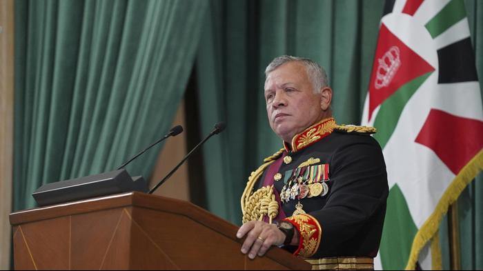 עבדאללה מלך ירדן בנאום בכינוס הפרלמנט, 10 בדצמבר 2020. AP