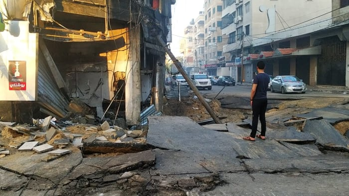 נזקי ההפצצות הישראליות בעזה,16 במאי 2021. ללא, צילום מסך