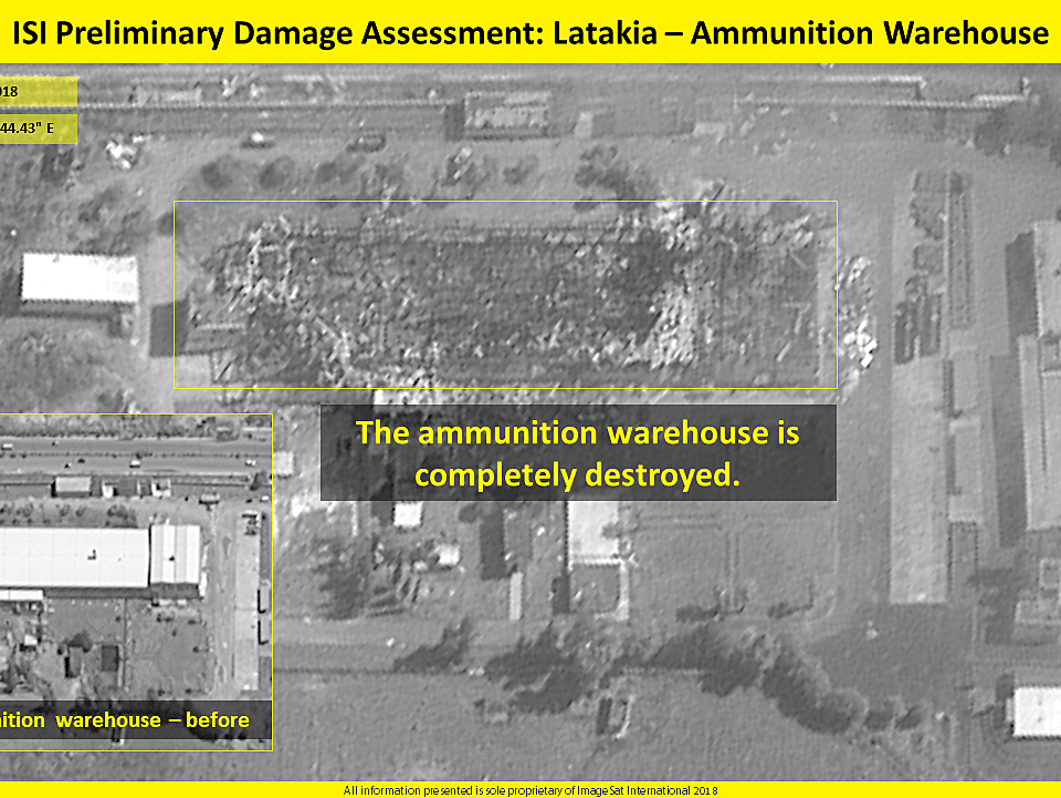 מחסן הנשק הושמד לחלוטין: הלוויין חושף את תוצאות התקיפה בלטקיה