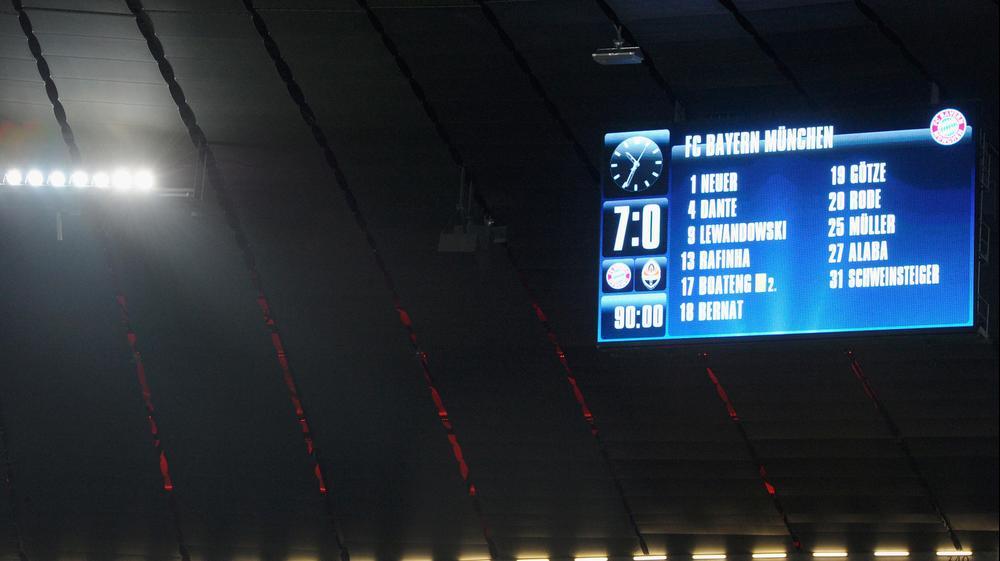 לוח התוצאות במשחק בין באיירן מינכן לשחטאר דונייצק. GettyImages