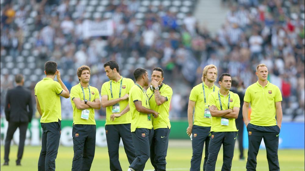 שחקני ברצלונה באצטדיון לפני גמר ליגת האלופות. GettyImages
