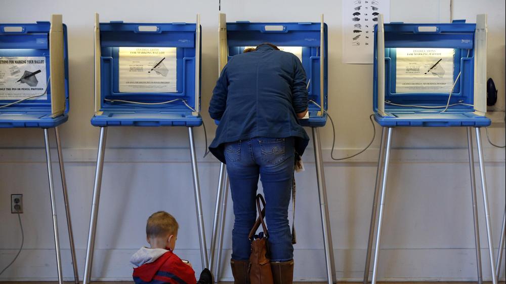 """בוחרים מצביעים בקלפי במינסוטה, ארה""""ב. נובמבר 2016"""