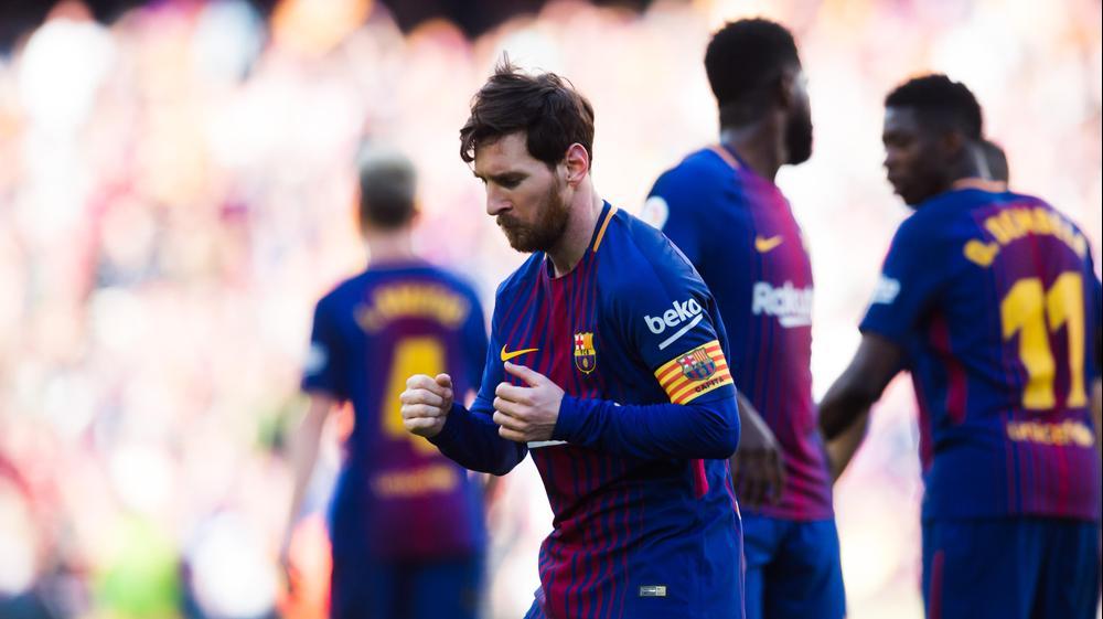 ליאונל מסי שחקן ברצלונה רוקד אחרי שער. GettyImages