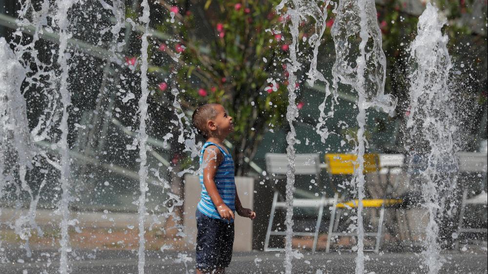 ילד עומד במזרקת מים בוינה, אוסטריה