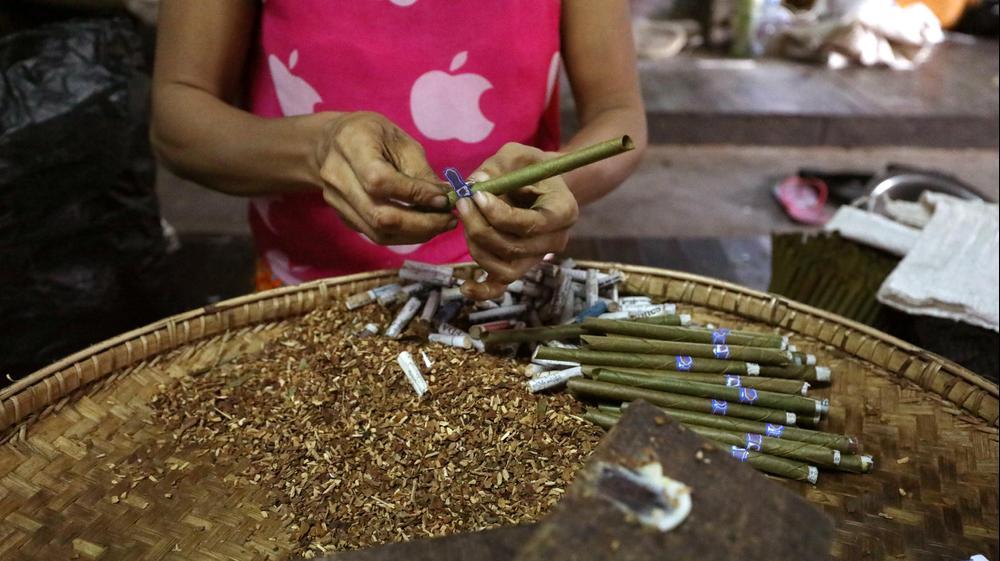 גלגול טבק לסיגריות במפעל במיאנמר