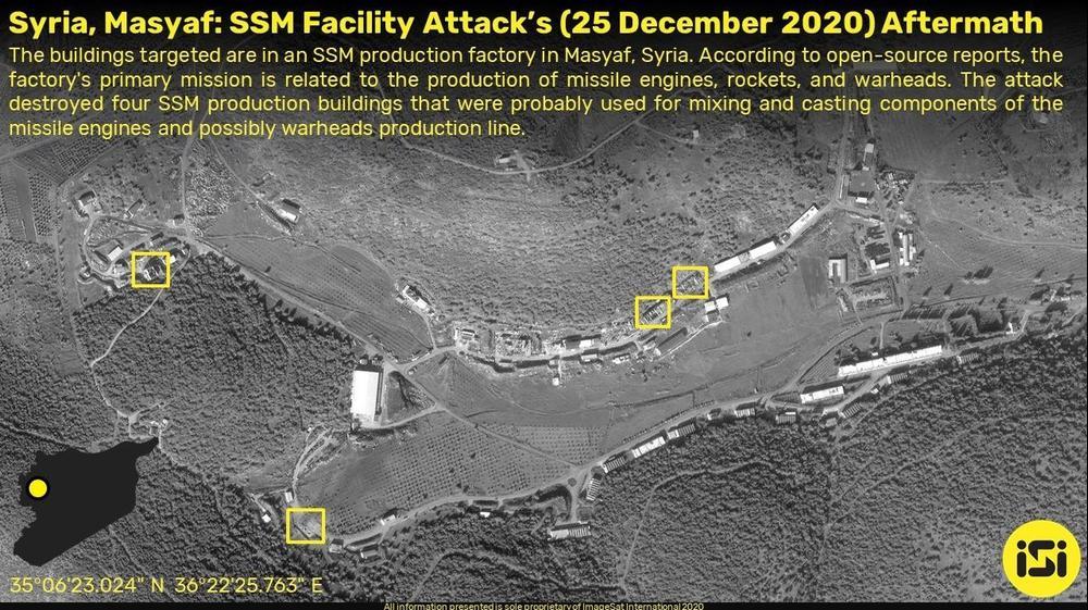 צילומי לוויין של 4 מבנים שנהרסו כתוצאה מתקיפה שיוחסה לישראל בסוריה, במפעל לייצור טילים באזור מסיאף שבמחוז חמאת. 25 בדצמבר 2020. אימג'סאט אינטרנשיונל (ISI), אתר רשמי