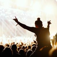 מבט מאחור על בחורה על כתפיים של מישהו בתוך קהל בהופעה