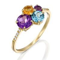 טבעת אבן קוקטייל אבנים ויהלומים