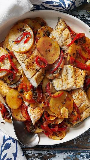 """פילה ברמונדי עם תפוחי אדמה בתנור בנוסח מרוקאי. יח""""צ, יח""""צ"""