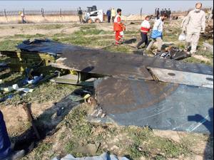 האתר בו התרסק מטוס אוקראינה אינטרנשיונל לאחר ההמראה משדה התעופה בטהראן, איראן, 10 בינואר 2020