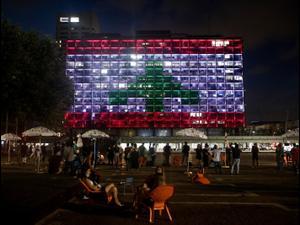 בניין עיריית תל אביב הואר בדגל לבנון, 5 באוגוסט 2020