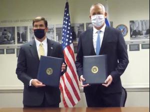 גנץ חתם בוושינגטון על הצהרה המבטיחה את שמירת העליונות הביטחונית של ישראל 22.10.20