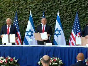 """ארה""""ב וישראל חתמו על הסכמי שיתוף פעולה מדעי שיחולו גם על ההתנחלויות 28.10.20. ניב אהרונסון"""