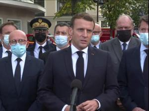 """מקרון על הפיגוע בניס: """"אנחנו תחת מתקפת טרור בגלל ערכי החירות שלנו"""" 29.10.20"""