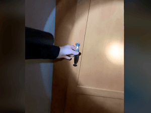 אשה פותחת דלת לחדר נסתר בבית