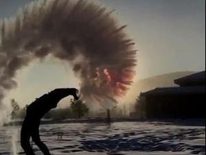 מים קופאים באוויר. BBC, צילום מסך