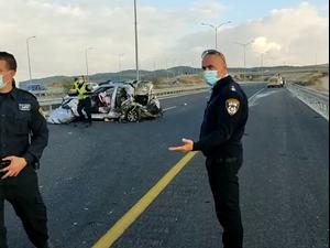 תאונת דרכים קטלנית בכביש 6 ליד רהט: הרוגה ו-9 פצועים  24.12.20. דוברות משטרת ישראל