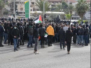 המחאה על האלימות במגזר הערבי: 4 עצורים בהפגנה באום אל-פחם 15.01.21. דוברות משטרת ישראל