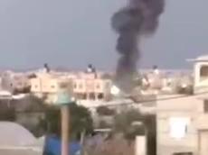 """צה""""ל תקף יעדי חמאס בעזה בתגובה לירי לעבר אשדוד 18.1.21. מתוך טוויטר, צילום מסך"""
