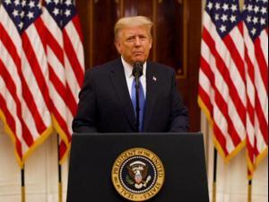 """נאום פרידה של נשיא ארה""""ב דונאלד טראמפ 20.01.21. רויטרס"""
