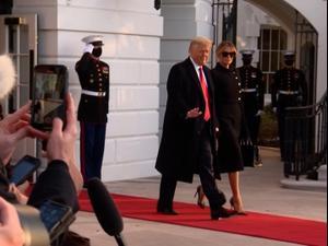 """טראמפ עזב את הבית הלבן בפעם האחרונה: """"אלה היו ארבע שנים נפלאות""""  20.1.21. צילום: רויטרס, רויטרס"""
