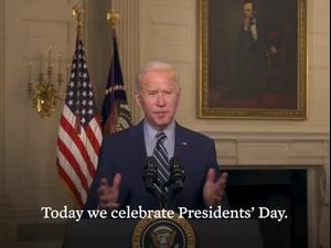 ביידן במסר ליום הנשיאים: הסיפור האמריקאי הוא עם ולא מנהיגיו  17.2.21. הבית הלבן, אתר רשמי
