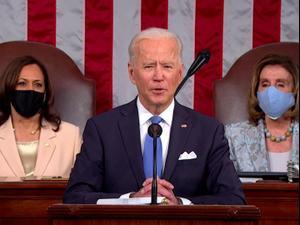 ג'ו ביידן נואם בפני הקונגרס האמריקני לראשונה כנשיא 29.04.21. רויטרס