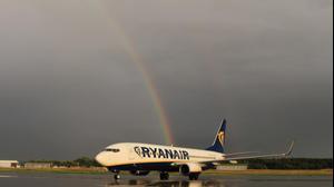 מטוס ריינאייר שדה תעופה ממינגן בבוואריה ליד מינכן