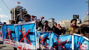 מחאה בבגדאד נגד ראש ממשלת עיראק החדש תאופיק עלוואי