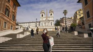 המדרגות הספרדיות ברומא בזמן סגר הקורונה