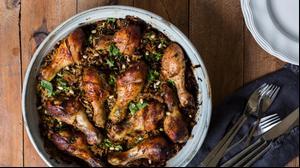 עוף עם אורז ובשר בתבנית אחת