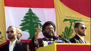 """מזכ""""ל חיזבאללה חסן נסראללה בנאום בבינת ג'בל לציון נסיגת ישראל מדרום לבנון, 26 במאי 2000"""