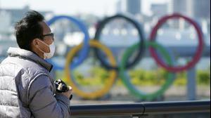הלוגו של אולימפיאדת טוקיו 2020 שנדחתה. AP