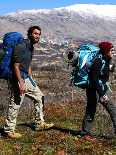 מטיילים בשביל הגולן בקרבת ברכת רם למרגלות החרמון, 18 בפברואר 2017