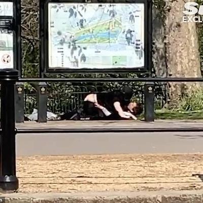 זוג מקיים יחסי מין ליד ארמון המלכוה הבריטי