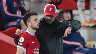 יורגן קלופ מאמן ליברפול עם דיוגו ז'וטה
