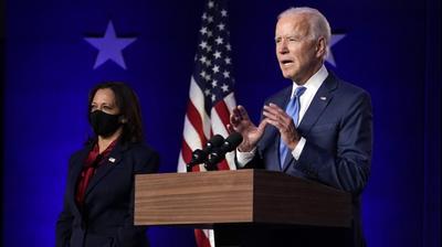 ג'ו ביידן בנאום בדלאוור, ארצות הברית, 7 בנובמבר 2020. AP